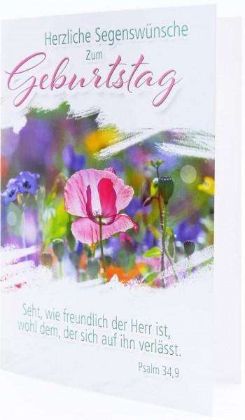"""Faltkarte """"Herzliche Segenswünsche zum Geburtstag""""/ Psalm 34,9"""